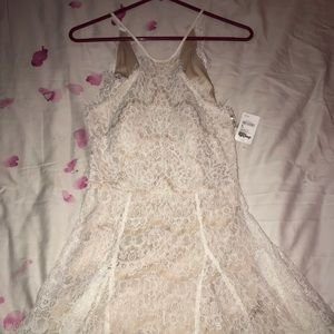 Charlotte Russe white and tan laced dress
